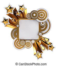 dorado, disco, estilo, bandera, blanco, plano de fondo, con,...
