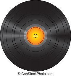dorado, disco, registro vinilo