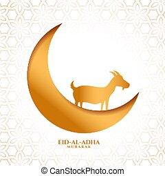 dorado, diseño, eid, adha, al, tarjeta, fiesta, bakrid