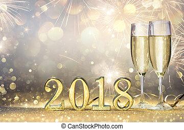 dorado, -, dos, 2018, año, nuevo, flautas champaña, números