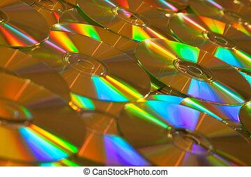dorado, dvds, plano de fondo, cds, datos, o