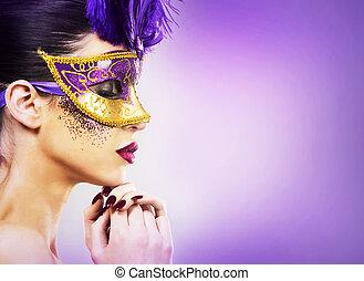dorado, el jurar, mujer, luz, backgound, máscara, paarty