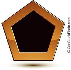 dorado, emblema, protector, clásico, claro, espacio, aislado, eps, fondo., aristocrático, vector, negro, 8., blanco, copia