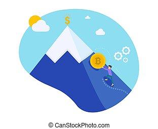 dorado, empujones, cielo, character., dinero., crecimiento, electrónico, poco, currency., bitcoin, trabajo, fondo., colina, minería, sisyphean, empujar, ilustración, montañismo, hombre, crypto, vector, coin., hombre de negocios