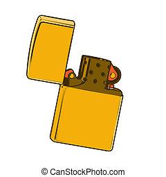 dorado, encendedor, zippo