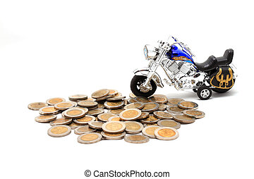 dorado, encima, coins, white), (isolated, motocicleta, terreno