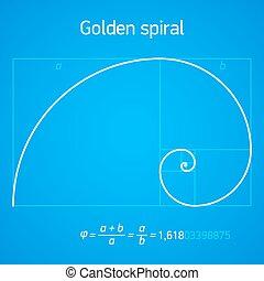 dorado, esquema, proporción, espiral