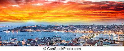 dorado, Estambul, anochecer, cuerno, panorámico,...