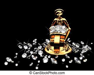 dorado, estatuilla, terreno, diamantes
