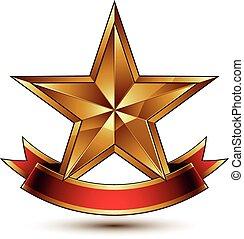 dorado, estilizado, símbolo, estrella