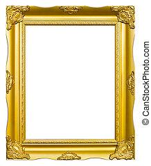 dorado, estilo, antiguo, foto, imagen, marco