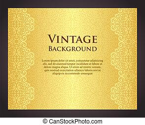 dorado, estilo, lujo, plano de fondo, vendimia