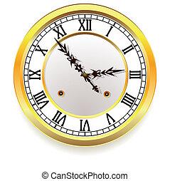 dorado, estilo, retro, clock.