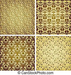 dorado, estilo, seamless, patrones, vector, oriental