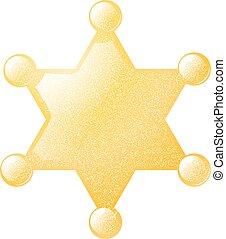 dorado, estrella, alguacil, ilustración, vector, plano de fondo, grunge, blanco, texture., acción