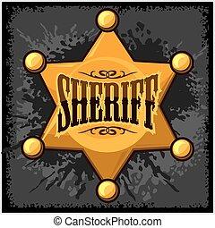 dorado, estrella, alguacil, ilustración, vector, plano de fondo, grunge, insignia