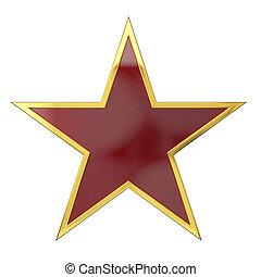 dorado, estrella, premio, con, coche rojo, pintado, espacio sin expresión
