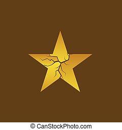 dorado, estrella, roto
