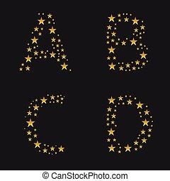 dorado, estrellas, alfabeto