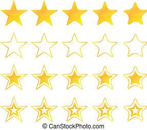 dorado, estrellas, iconos