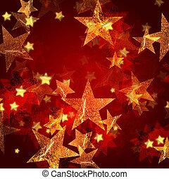 dorado, estrellas, rojo