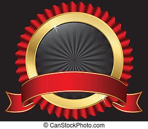 dorado, etiqueta, con, cinta roja, vecto