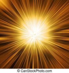 dorado, explosión de la luz