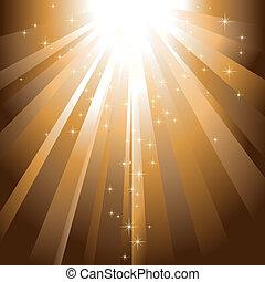 dorado, explosión, luz, brillante, descendente, estrellas