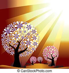 dorado, explosión, luz, resumen, árboles, plano de fondo