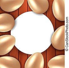 dorado, felicitación, huevos, brillante, Pascua, tarjeta