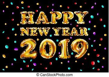 dorado, felicitación, oro, filled., decoración, número, metálico, año, vector, 2019, carta, globos, nuevo, pelota, aire, celebración, feliz