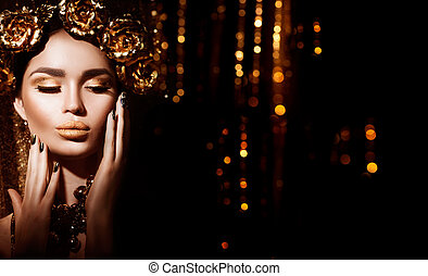 dorado, feriado, makeup., dorado, guirnalda, y, necklace., moda, arte, peinado, manicura, y, maquillaje