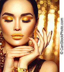 dorado, feriado, makeup., moda, arte, manicura, y, maquillaje