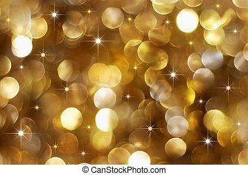 dorado, feriado, plano de fondo, luces