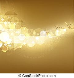dorado, festivo, luces, plano de fondo