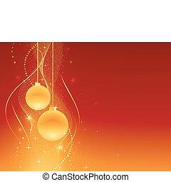 dorado, festivo, navidad, plano de fondo, rojo