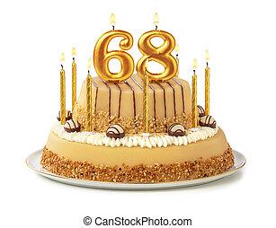 dorado, festivo, velas, -, número, pastel, 68