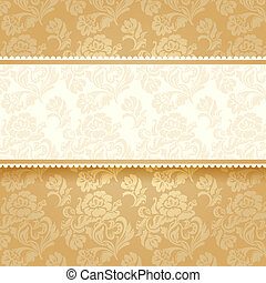 dorado, flor, en, fondo., cuadrado