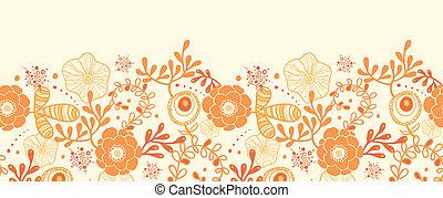 dorado, florals, horizontal, frontera, seamless, patrón,...