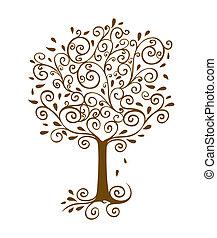 dorado, floritura, árbol