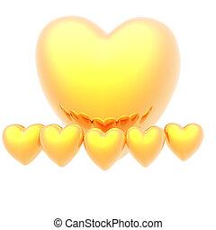 dorado, fondo blanco, corazón