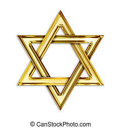 dorado, fondo blanco, hexagram, ilustración