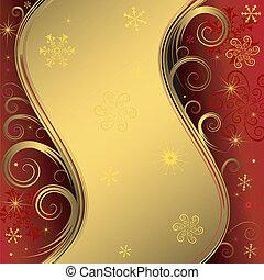 dorado, fondo rojo, (vector), navidad