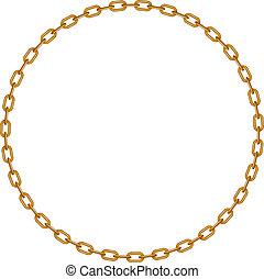 dorado, forma, círculo, cadena