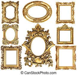 dorado, frames., estilo barroco, antigüedad, objects., vendimia, collection., álbum de recortes, elementos