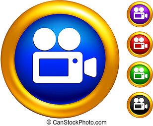 dorado, fronteras, vídeo, icono, botones, cámara