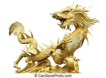 dorado, gigante, chino, aislar, dragón, plano de fondo