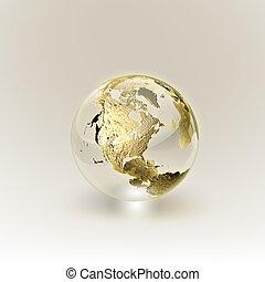 dorado, globo, (global, y, comunicación, concept)