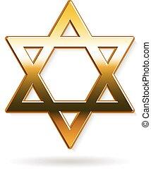 dorado, gráfico, estrella, david, vector, diseño, logo.