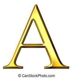 dorado, griego, 3d, carta, alfa